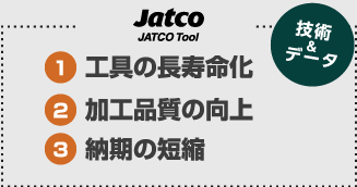 JATOCO Tool Ltd(技術&データ) (1)工具の長寿命化 (2)加工品質の向上 (3)納期の短縮